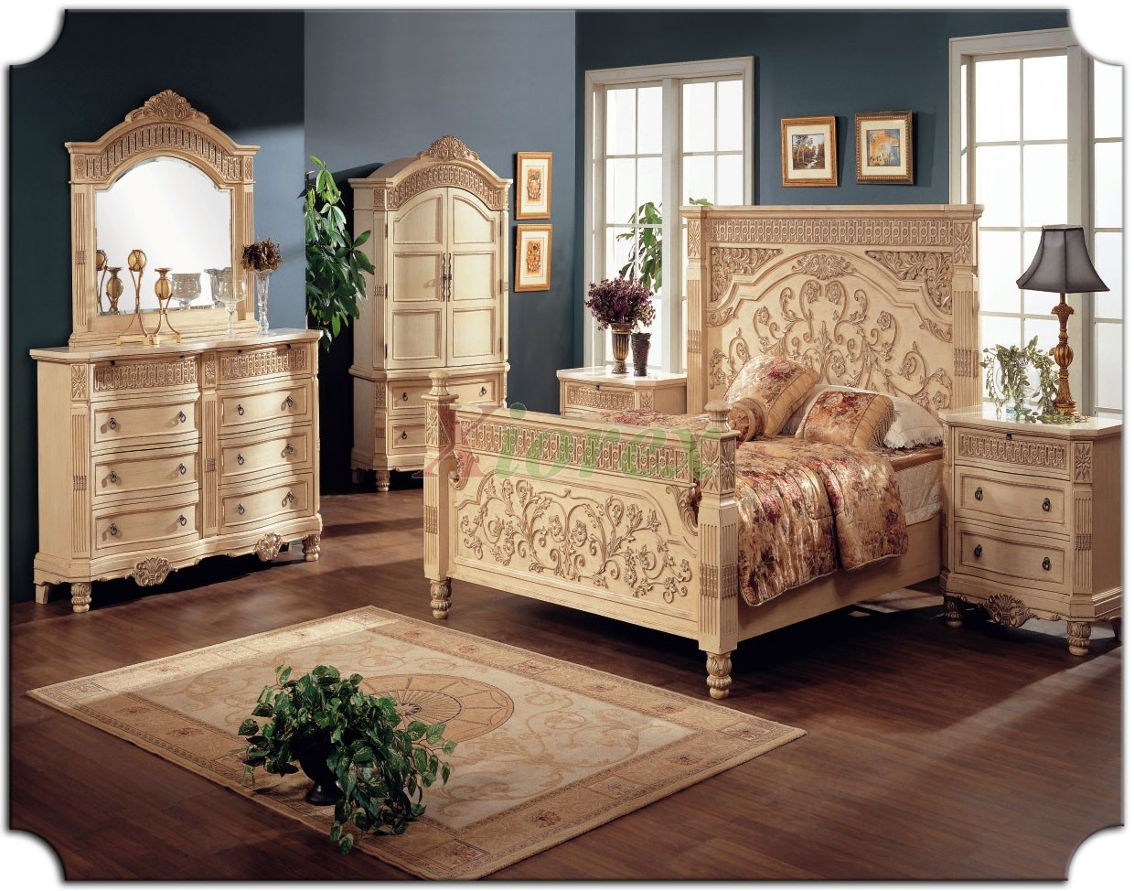 Poster bedroom furniture set w tall headboard beds 116 for Traditional bedroom furniture