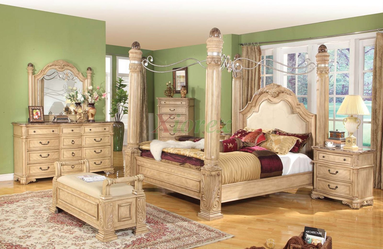 Queen And King Poster Bedroom Set With Metal Canopy And Leather Headboard.
