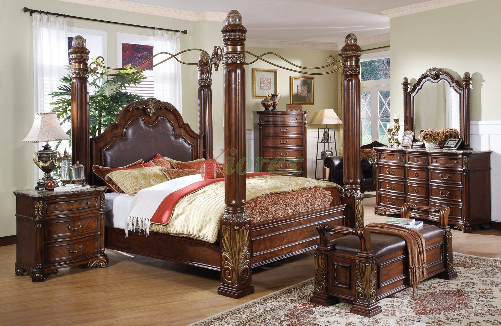 poster bedroom set w metal canopy leather headboard queen and king beds - King Bed Bedroom Sets