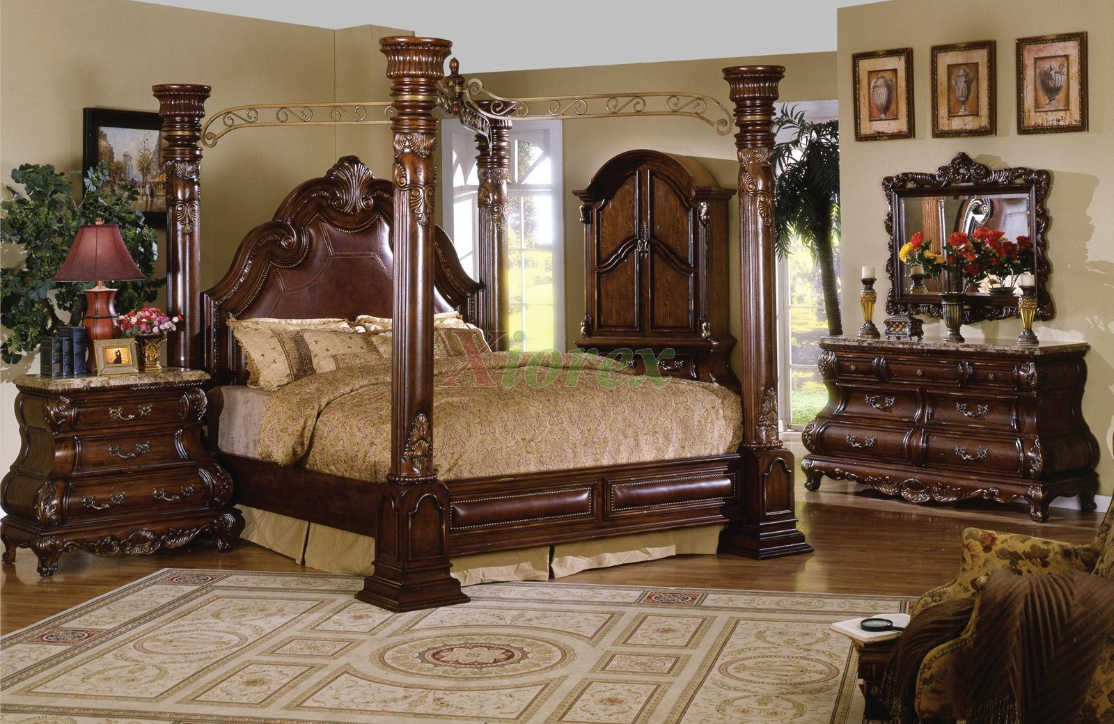 Poster Bedroom Set w  Leather Headboard Queen Bed and King Bed   Xiorex. Traditional Poster Bedroom Furniture Set Metal Canopy Leather