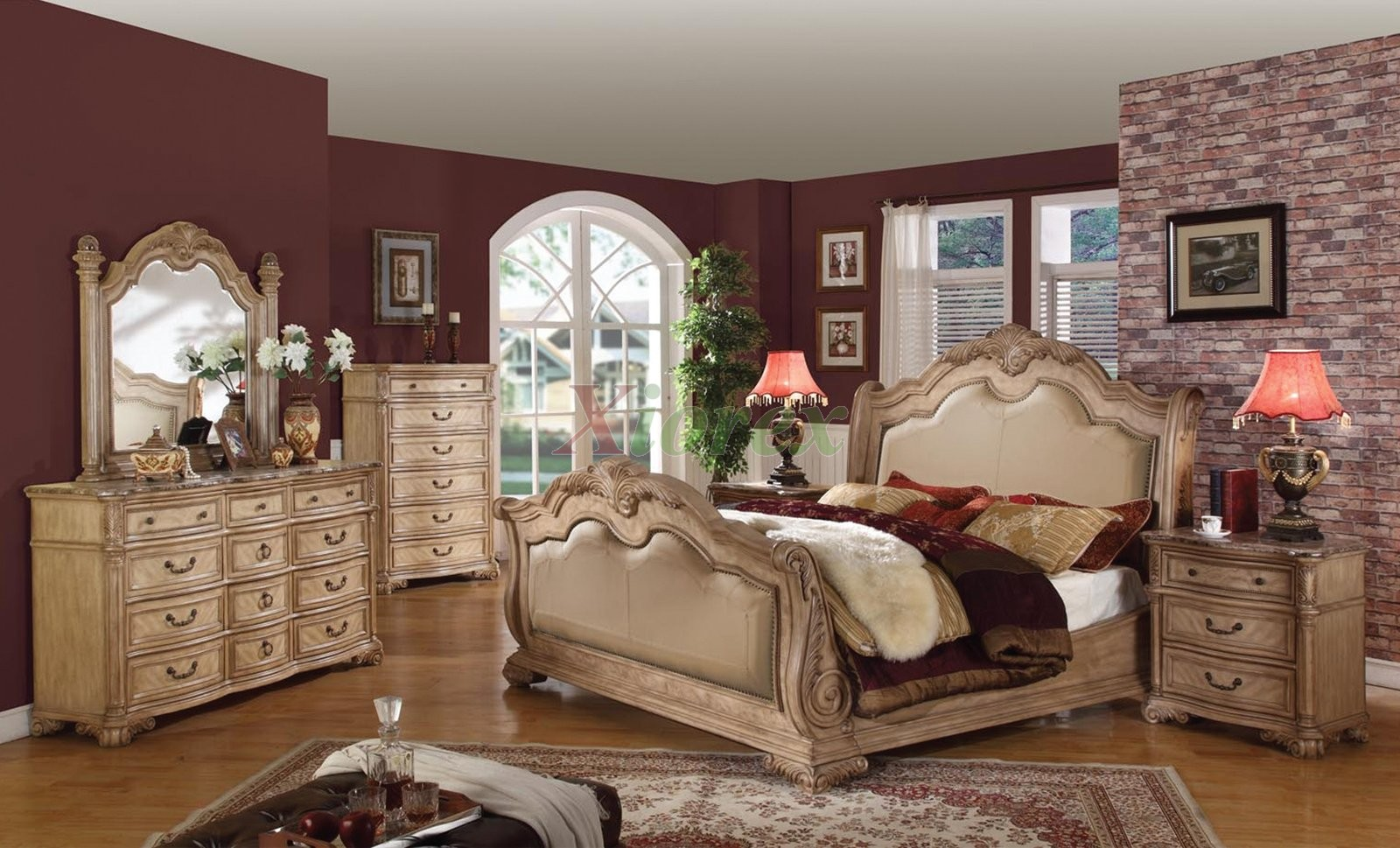 Sleigh bedroom furniture set with leather headboard and for Headboard and dresser set
