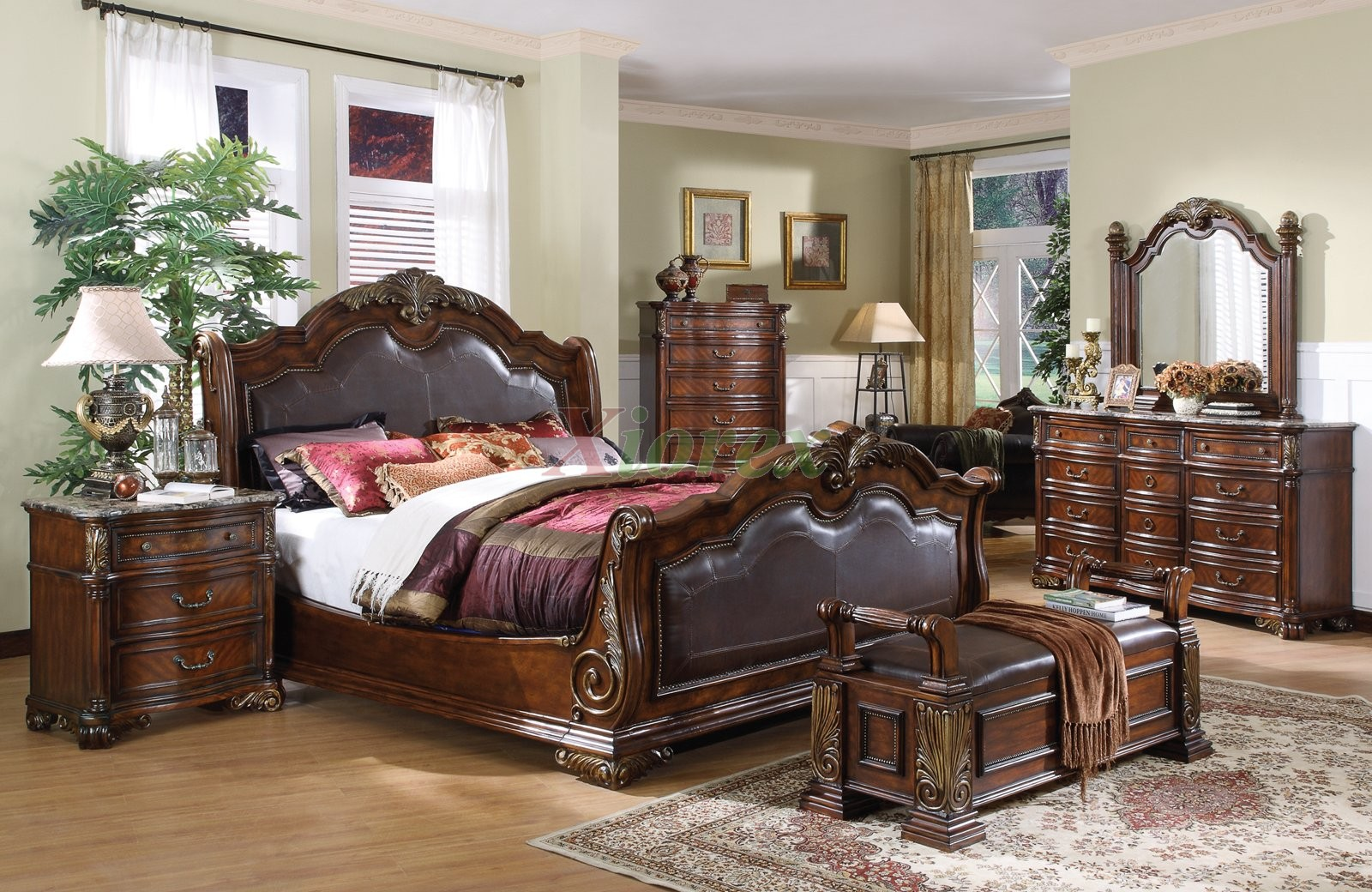 Sleigh Bedroom Set With Leather Headboard And Footboard Beds Xiorex