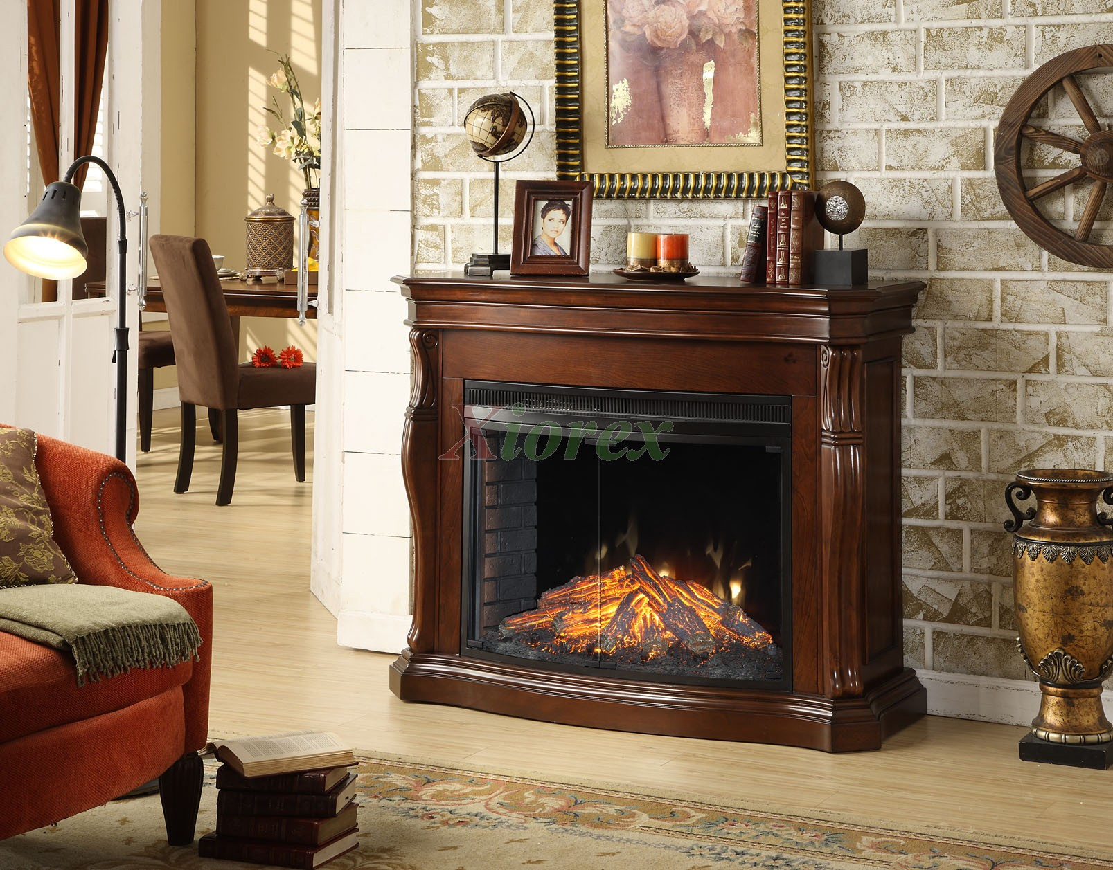 Tuscan Indoor Fireplace In Burnished Cherry By Greenway