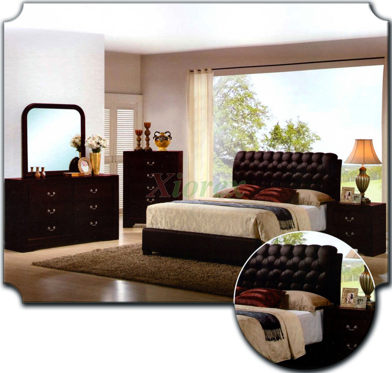 upholstered bedroom furniture set w tufted headboard beds 162 | xiorex