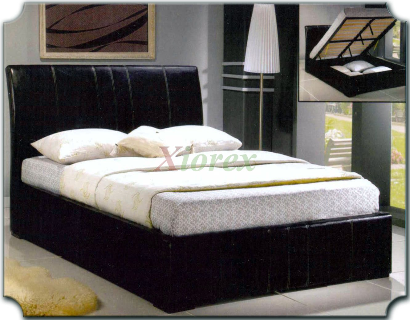 Upholstered Platform Bed Furniture With Curved Headboard