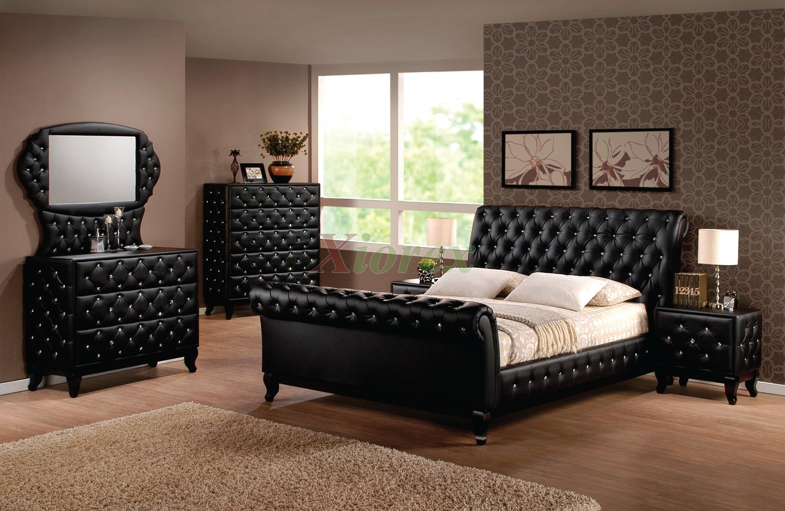 tufted bedroom furniture. Tufted Sleigh Platform Bedroom Sets | Xiorex. Furniture