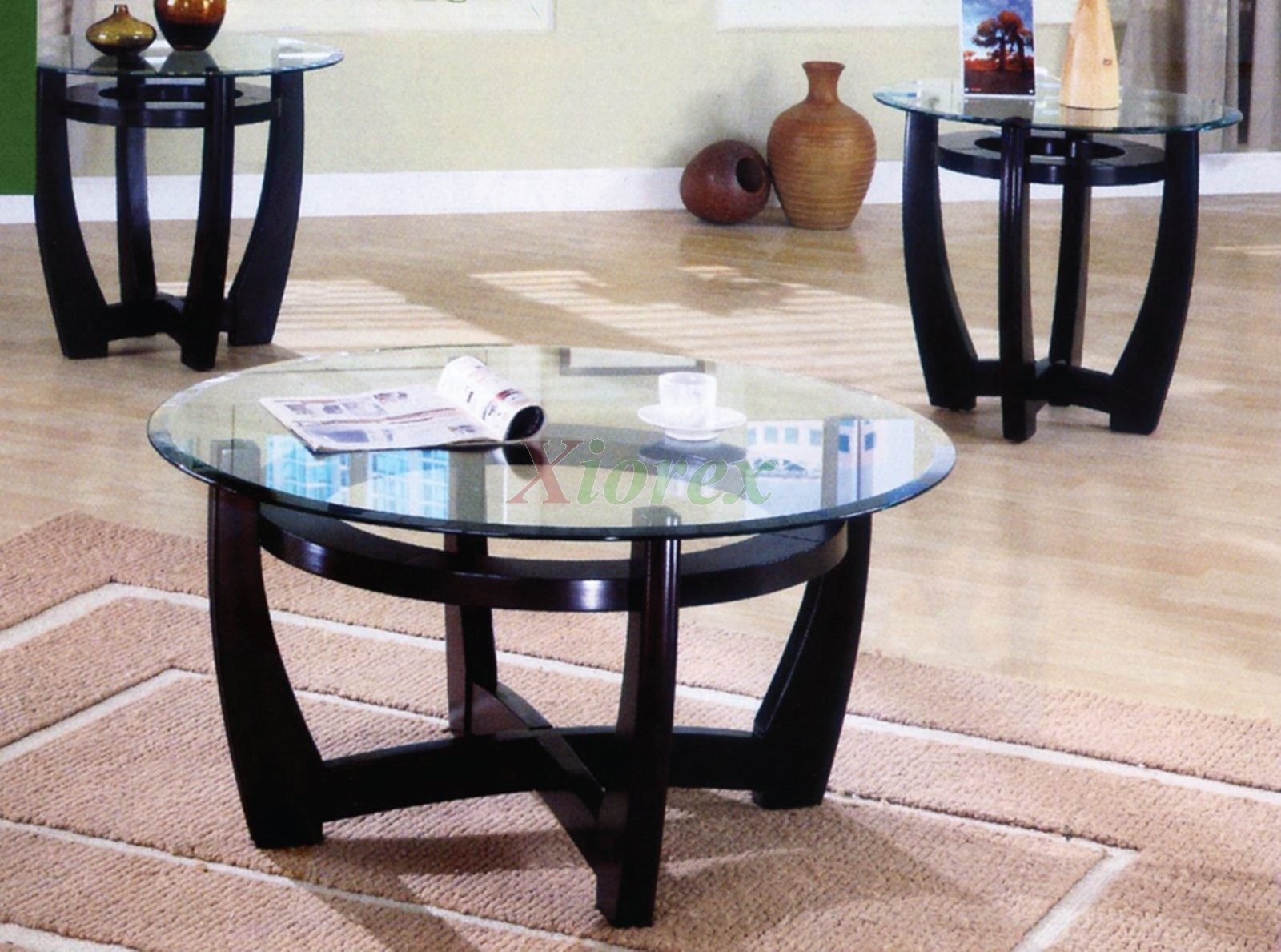 Tables Of The Ursa 3 Piece Living Room Table Set Are Made From Poplar Wood  And Feature Crisscross Shape Legs And Glass Tops With Nice Bevels.