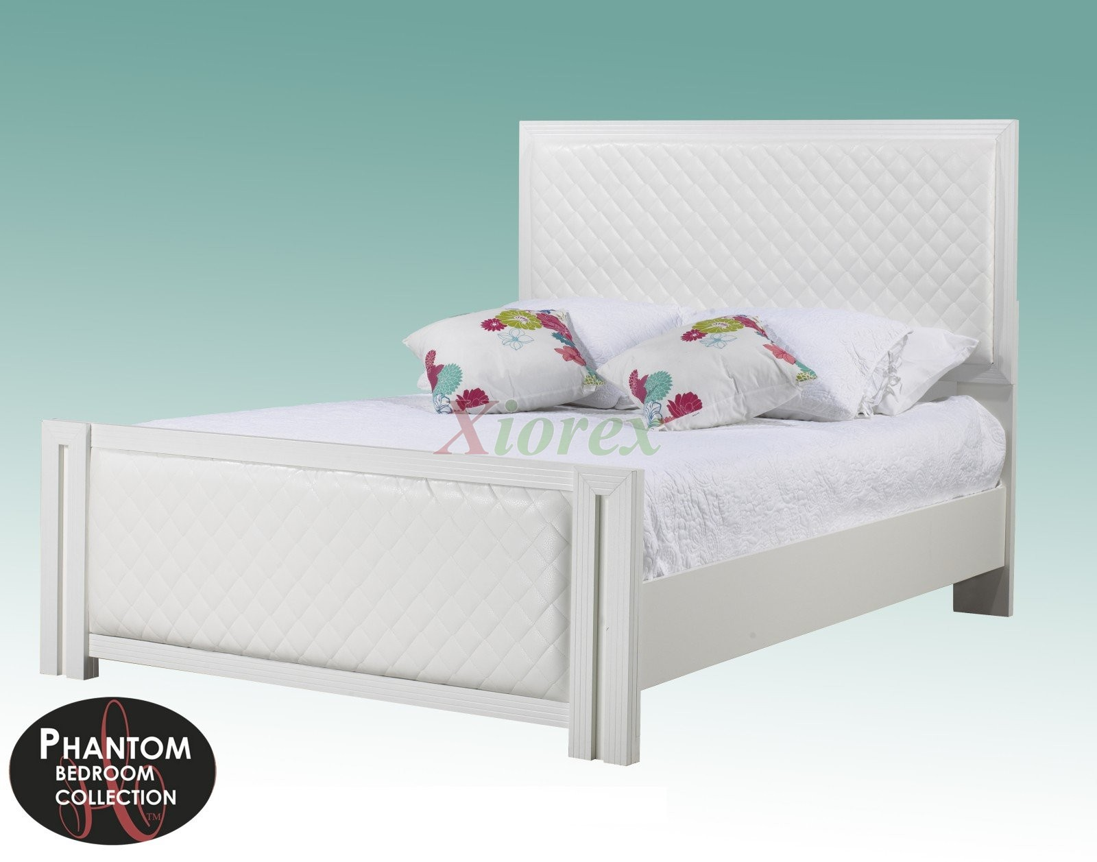white bed frame life line phantom railbed w leather headboard xiorex