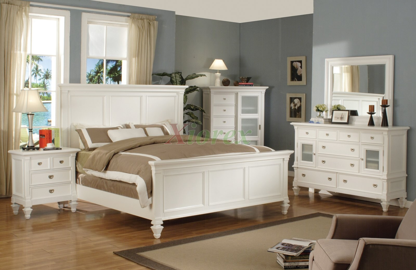 White Bedroom Set With Tall Headboard King And Queen Beds 126 Xiorex Black Furniture