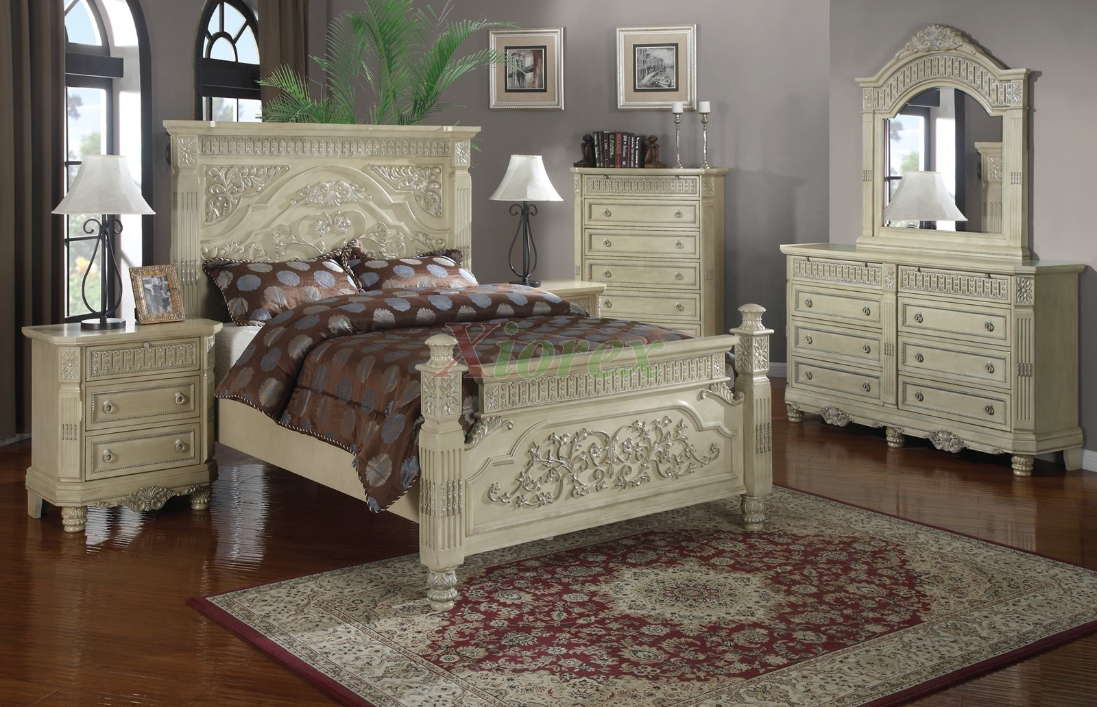 White Luxury Bedroom Furniture Sets With Tall Headboard Beds