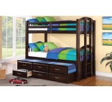 Acamar Twin over Twin Bunk Bed w Bottom Twin Captain Bed | Xiorex