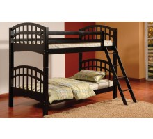 Achird Twin Twin Kids Bunk Beds in Black | Xiorex