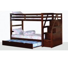 Alcor Twin over Twin Bunk Bed with Storage Stairs and Trundle | Xiorex