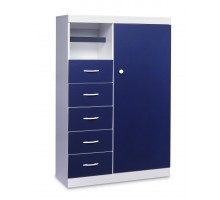 Armoire White w Navy Blue Vinyl Fronts by Life Line | Xiorex