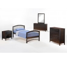 Bed Suite - Molasses Bed Suite w Chest Dresser Mirror and Nightstand