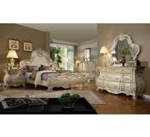 Luxury Bedroom Set with Bombe Dresser Chest and Nighthstand in White Wash | Xiorex