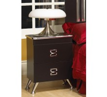 Black Night Table Life Line Elvis Nightstand with Chrome Legs | Xiorex