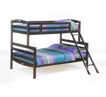 Bunk Bed - Twin Full Dark Chocolate Bunk Bed for Sesame Bunk Bed Set