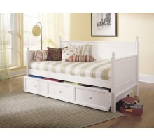 Casey Daybed - Twin Size Day Bed w Guest Trundle in White | Xiorex