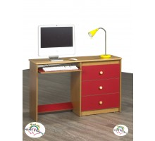 Computer Desk Life Line Cognac Computer Desk w Red Washable Vinyl Fronts