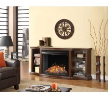 Contessa Cabinet Fireplace - Low Profile Mantel w Curved Firebox
