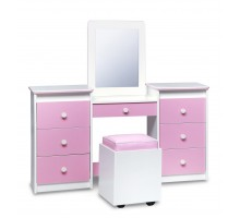 Girls Vanity Set White w Pink Vinyl Fronts Table Seat Mirror by Life Line