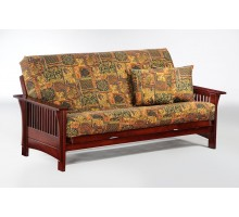 Lattice Arm Autumn Futon by Night and Day in Rosewood | Xiorex