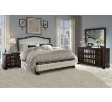 Lyra Modern Bedroom Collections with Tufted Leather Heaboard and Footboard