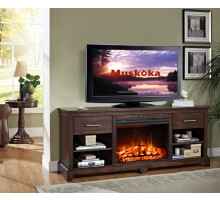 Muskoka Kerr Media Console Electric Fireplace w Walnut Finish  Xiorex