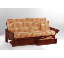 Night and Day Seattle Futon Convertible w Tray-arm in Rosewood | Xiorex