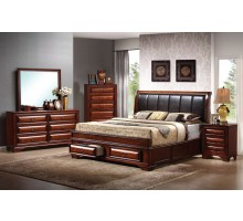 Platform Bedroom Set with Leather Headboard King Bed and Queen Bed | Xiorex