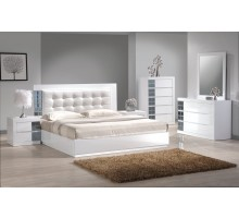 White Platform Bedroom Furniture Set with Tufted Headboard Beds | Xiorex