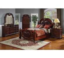 Poster Bedroom Set with Leather Headboard Queen Bed Leather Headboard King Bed
