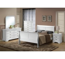 Semi-gloss White Bedroom Suite 170 w Sleigh Like Queen and King Beds