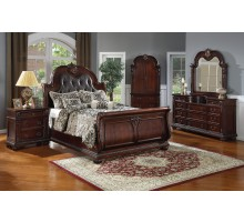 Sleigh Bedroom Set with Leather Headboard Beds | Xiorex