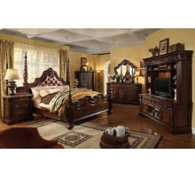 Poster Bedroom Set with Leather Headboard Beds | Xiorex