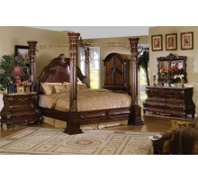 Poster Bedroom Set w/ Leather Headboard Queen Bed and King Bed | Xiorex