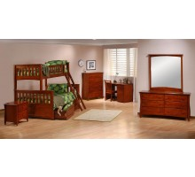 Ginger Bunk Bed Suite w Cinnamon Drawers open - Night and Day | Xiorex