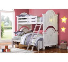 Twin over Full Bunk Bed for Girls in White | Xiorex