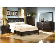 Bedroom Set with Leather Headboard King Bed & Leather Headboard Queen Bed