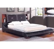 Brown Upholstered Bookcase Panel Platform Bed Furniture | Xiorex