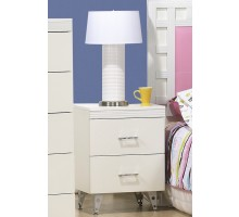 White Bedside Table Life Line Priscilla 2-Drawer Night Table | Xiorex