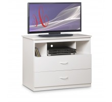 White Media Chest w 2 Drawers and 3 Niches by Life Line | Xiorex