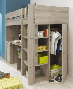 Gami Largo Loft Beds for Teens Canada with Desk & Closet | Xiorex