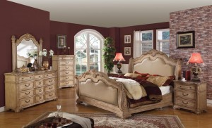 Sleigh Bedroom Furniture Set with Leather Headboard and Footboard 104