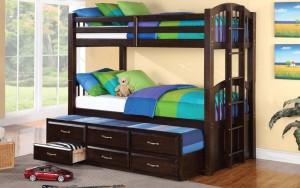 Acamar Twin over Twin Bunk Bed w Bottom Twin Captain Bed | Xiorex