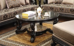 Alya Round Coffee Table Toronto with Beveled Glass Top | Xiorex