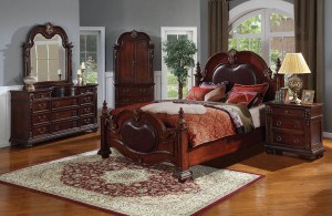 Poster Bedroom Furniture Set with Leather Headboard 121 | Xiorex