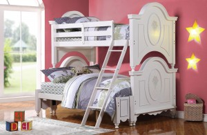 Alamak Twin over Full Bunk Bed for Girls in White | Xiorex