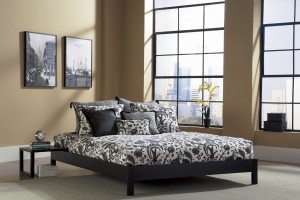 Murray Platform Bed Contemporary in Black & Mahogany Finish | Xiorex